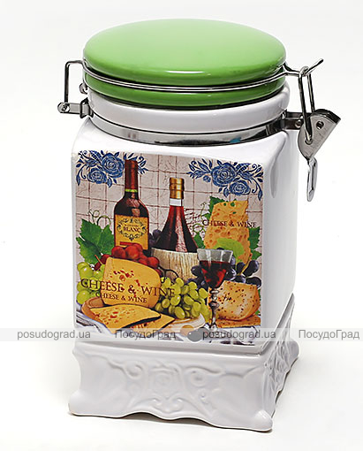 Банка Cheese&Wine 1040мл для сыпучих продуктов на металлической затяжке