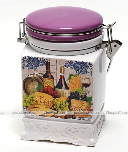 Банка Cheese&Wine 840мл для сыпучих продуктов на металлической затяжке