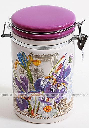 """Банка круглая """"Iris Flower"""" 14.2x10.5x17.5см с крышкой на металлической затяжке"""