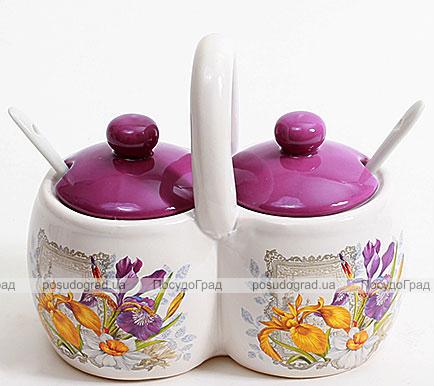 """Баночки для специй """"Iris Flower"""" двойная с 2 керамическими ложечками"""