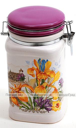 """Банка квадратная """"Iris Flower"""" 13.2x10.6x17.5см с крышкой на металлической затяжке"""