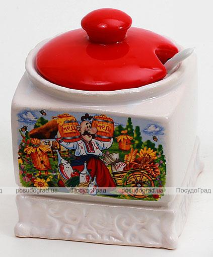 Сахарница Украинский Сувенир 10.4х10.4х12.5см с керамической ложкой