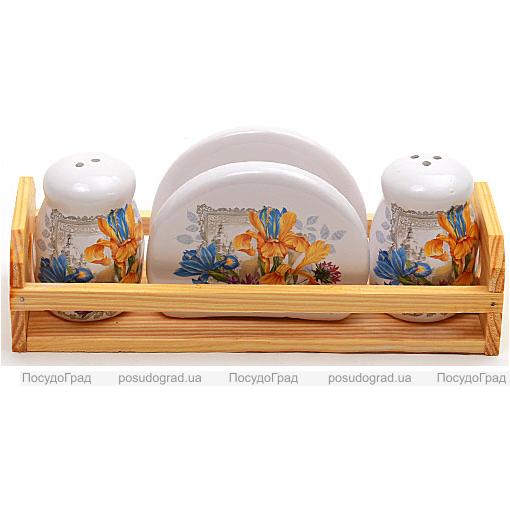 """Набор для специй """"Iris Flower"""" 3 предмета на деревянной подставке"""