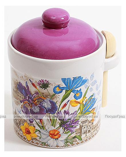 """Банка для сыпучих продуктов """"Iris Flower"""" Ø10х14см с деревянной ложкой"""