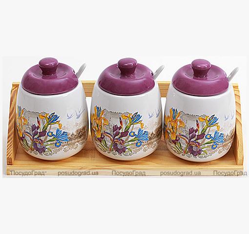 """Набор """"Iris Flower"""" 3 банки для сыпучих продуктов 450мл с ложечками на деревянной подставке"""