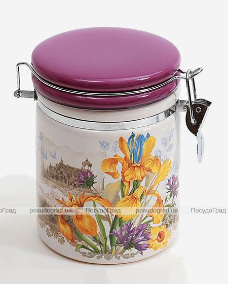 """Банка круглая """"Iris Flower"""" 14.2x10.5x14.5см с крышкой на металлической затяжке"""