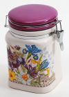 """Банка квадратная """"Iris Flower"""" 13.2x10.6x14.7см с крышкой на металлической затяжке"""