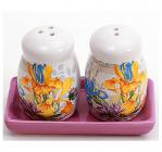 """Набір для спецій """"Iris Flower"""" сіль і перець на керамічній підставці"""
