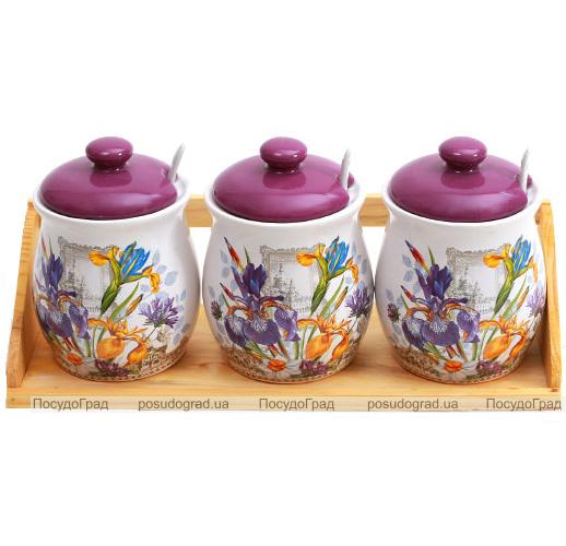 """Набор """"Iris Flower"""" 3 банки для сыпучих продуктов 470мл с ложечками на деревянной подставке"""
