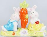 """Набор спецовников """"Крольчата"""" соль/перец на керамической подставке"""