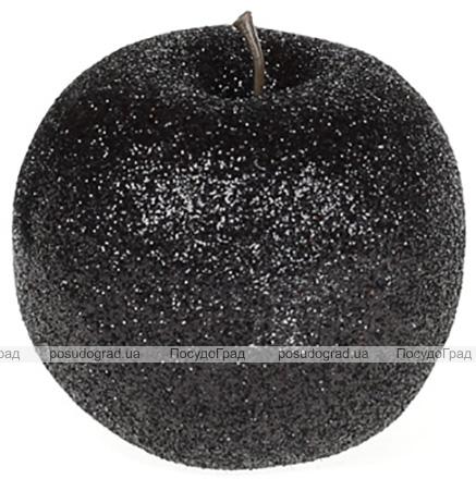 Набір 4 підвіски «Яблуко» 6.5см чорний з глітером, пінопласт