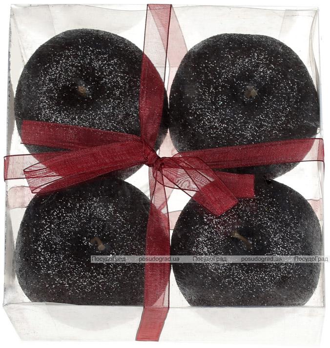 Набір 4 підвіски «Яблуко» 8см чорний з глітером, пінопласт