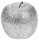 Набір 4 підвіски «Яблуко» 7см сріблястий з глітером, пінопласт