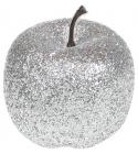 Набор 4 подвески «Яблоко» 6.5см серебристый с глиттером, пенопласт