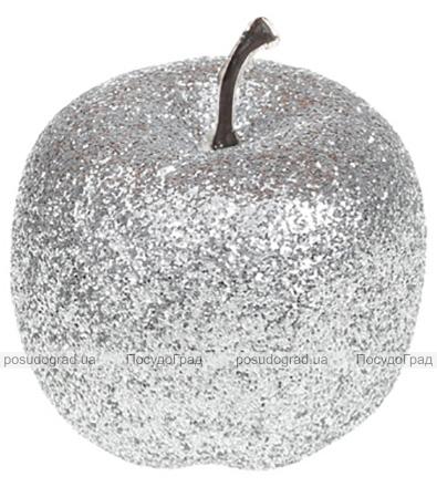 Набір 4 підвіски «Яблуко» 6.5см сріблястий з глітером, пінопласт
