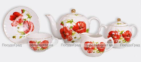 """Чайный сервиз """"Красный мак-I"""" 200мл 15 предметов"""