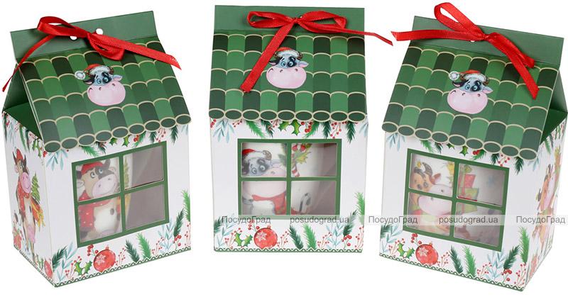 Кружка порцелянова «Новорічна Корівка» 300мл, в подарунковій коробці