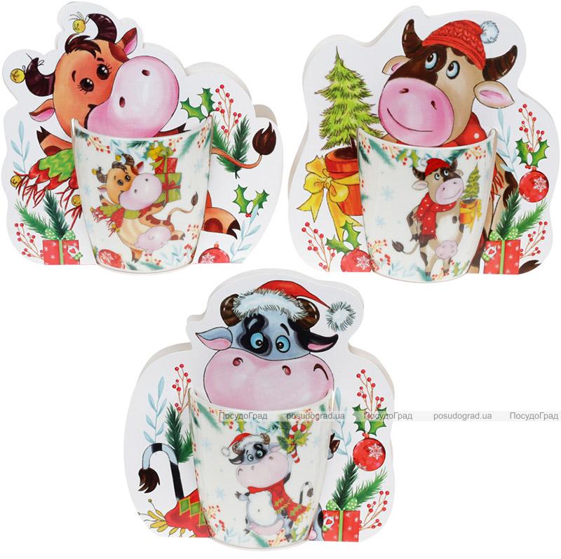 Кружка фарфоровая «Новогодняя Коровка» 350мл