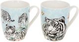 """Кружка порцелянова """"Білий Тигр"""" 380мл, лазуровий, 2 дизайни"""