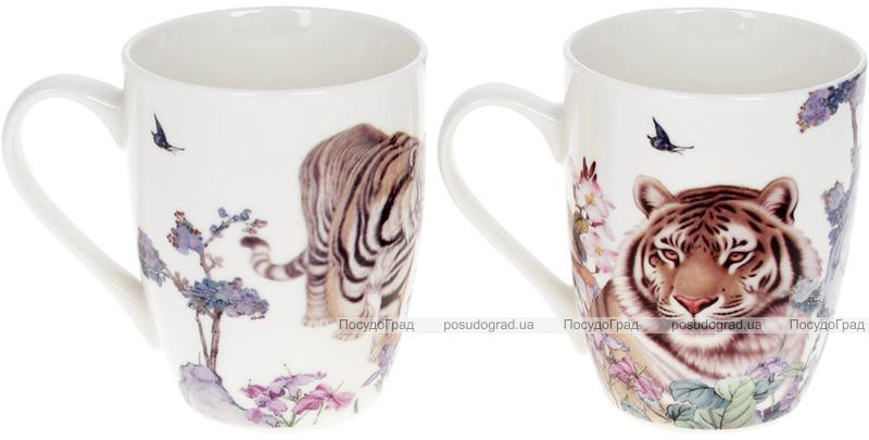 """Кружка порцелянова """"Тигр"""" 380мл, білий, 2 дизайни"""