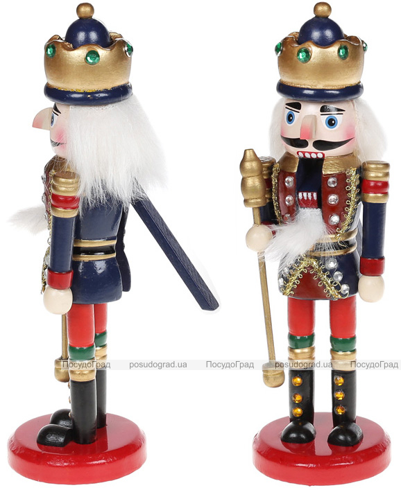 Статуэтка декоративная «Щелкунчик» 20см, деревянная, красный с синим