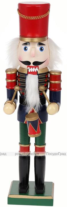 Статуетка декоративна «Лускунчик з барабаном» 50см, червоний з синім і зеленим
