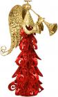 """Декоративная статуэтка """"Ангел"""" 25см, металл, красный с золотом"""