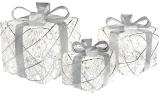 Набор декоративных подарков - 3 коробки 15х20см, 20х25см, 25х30см с LED-подсветкой, белый с серебром