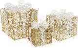 Набір декоративних подарунків - 3 коробки 15х20см, 20х25см, 25х30см з LED-підсвіткою, білий з золотом