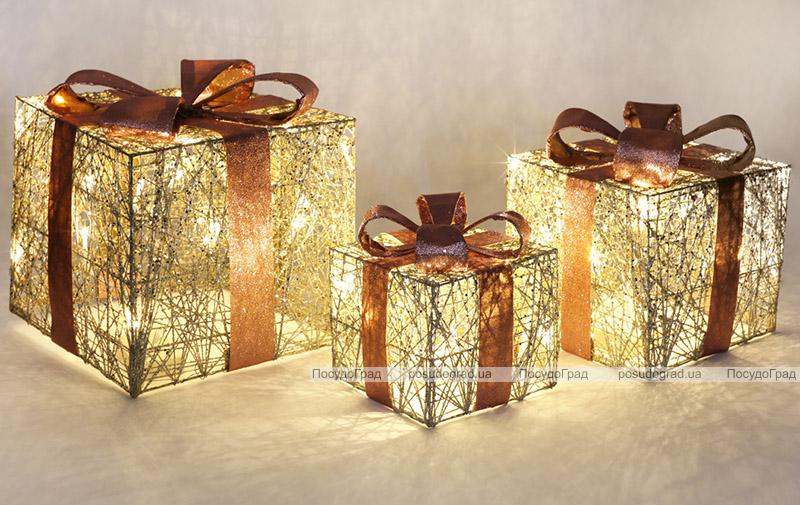 Набір декоративних подарунків - 3 коробки 15х20см, 20х25см, 25х30см з LED-підсвіткою, шампань з рожевим