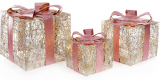 Набор декоративных подарков - 3 коробки 15х20см, 20х25см, 25х30см с LED-подсветкой, шампань с розовым