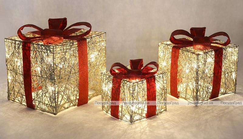 Набор декоративных подарков - 3 коробки 15х20см, 20х25см, 25х30см с LED-подсветкой, шампань с красным