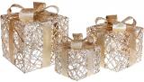 Набор декоративных подарков - 3 коробки 15х20см, 20х25см, 25х30см с LED-подсветкой, светлое золото