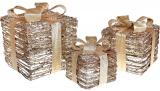 Набір декоративних подарунків - 3 коробки 15х20см, 20х25см, 25х30см з LED-підсвіткою, старовинне золото