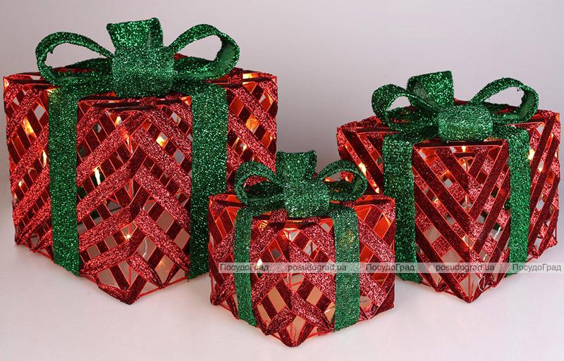 Набор декоративных подарков - 3 коробки 15х20см, 20х25см, 25х30см с LED-подсветкой, красный с зеленым