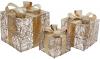 Набор декоративных подарков - 3 коробки 15х20см, 20х25см, 25х30см с LED-подсветкой, шампань с золотом
