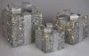 Набір декоративних подарунків - 3 коробки 15х20см, 20х25см, 25х30см з LED-підсвіткою, срібло
