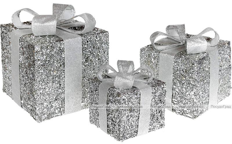 Набор декоративных подарков - 3 коробки 15х20см, 20х25см, 25х30см с LED-подсветкой, серебро