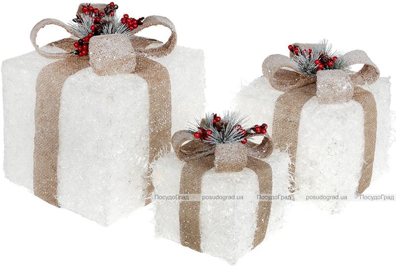 Набір декоративних подарунків - 3 коробки 15х20см, 20х25см, 25х30см з LED-підсвіткою, білий з бежевим