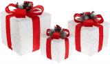Набір декоративних подарунків - 3 коробки 15см, 20см, 25см з LED-підсвіткою, білий з червоним бантом
