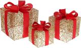 Набор декоративных подарков - 3 коробки 15см, 20см, 25см с LED-подсветкой, золото с красным бантом