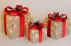 Набор декоративных подарков - 3 коробки 15см, 20см, 25см с LED-подсветкой, шампань с красным бантом