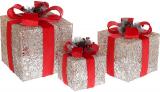 Набір декоративних подарунків - 3 коробки 15см, 20см, 25см з LED-підсвіткою, шампань з червоним бантом