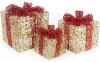 Набір декоративних подарунків - 3 коробки 15х20см, 20х25см, 25х30см з LED-підсвіткою, золото з червоним