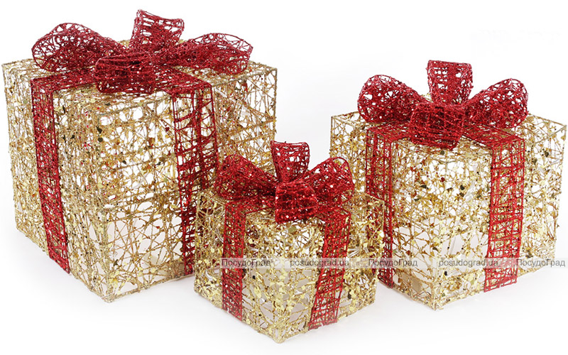 Набор декоративных подарков - 3 коробки 15х20см, 20х25см, 25х30см с LED-подсветкой, золото с красным