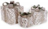 Набор декоративных подарков - 3 коробки 15х20см, 20х25см, 25х30см с LED-подсветкой, белый с бежевыми бантами
