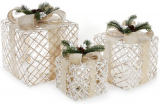 Набір декоративних подарунків - 3 коробки 15х20см, 20х25см, 25х30см з LED-підсвіткою, білий з бежевим та хвоєю
