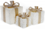 Набор декоративных подарков - 3 коробки 15х20см, 20х25см, 25х30см с LED-подсветкой, белый крем
