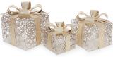Набор декоративных подарков - 3 коробки 12.5см, 16.5см, 20см с LED-подсветкой, шампань с золотом