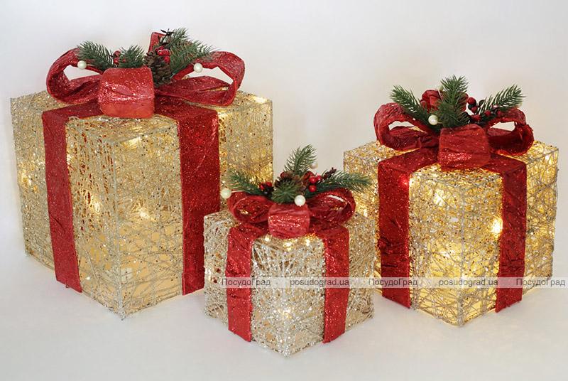 Набор декоративных подарков - 3 коробки 15х20см, 20х25см, 25х30см с LED-подсветкой, шампань с красными бантами